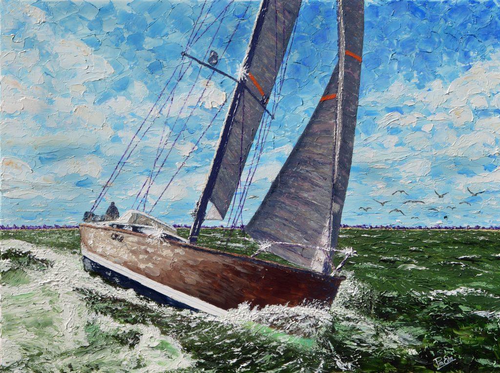 Harbor Race 36x48 Acrylic in Gel Medium SOLD ***Custom Sizes available