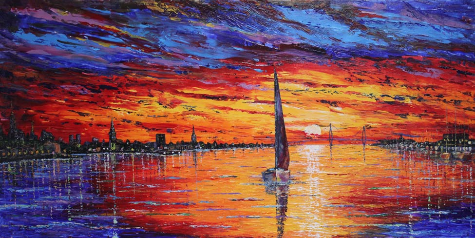 Charleston Harbor Sunset 24x48 Acrylic in Gel Medium SOLD  ***Custom Sizes available