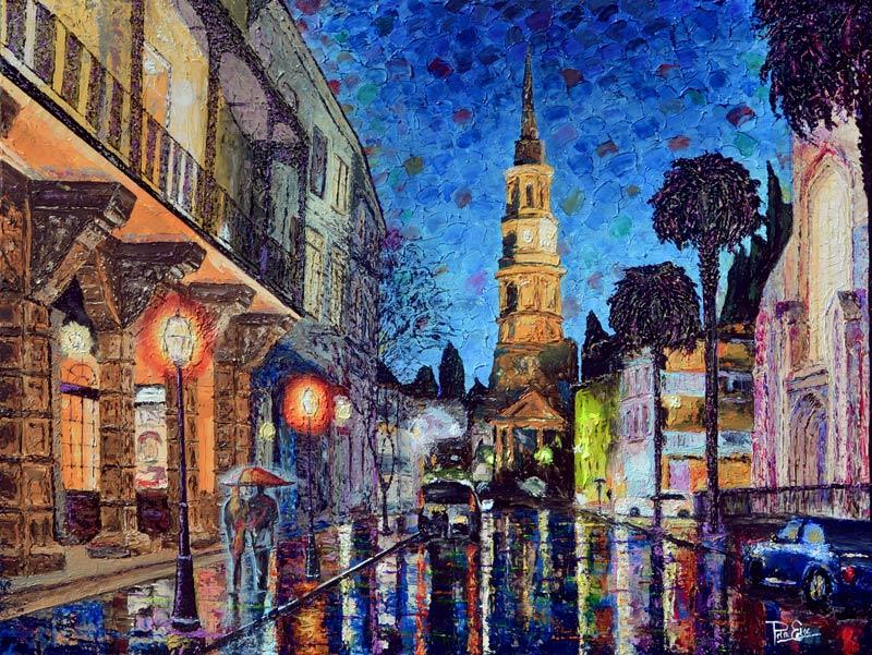 Church Street by Night 32x48 Acrylic in Gel Medium SOLD ***Custom Sizes available