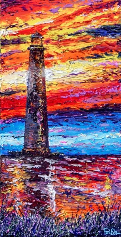Morris Island Lighthouse 12x24 Acrylic in Gel Medium  ***Custom Sizes available