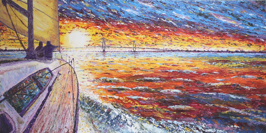 Ravenel Sunrise 24x48  Acrylic in Gel Medium  SOLD***Custom Sizes available