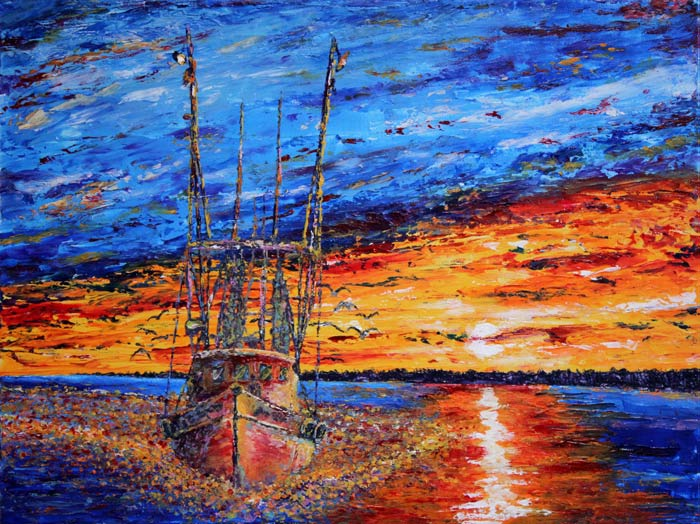 Shem Creek Shrimper 18x24 Acrylic in Gel Medium SOLD  ***Custom Sizes available