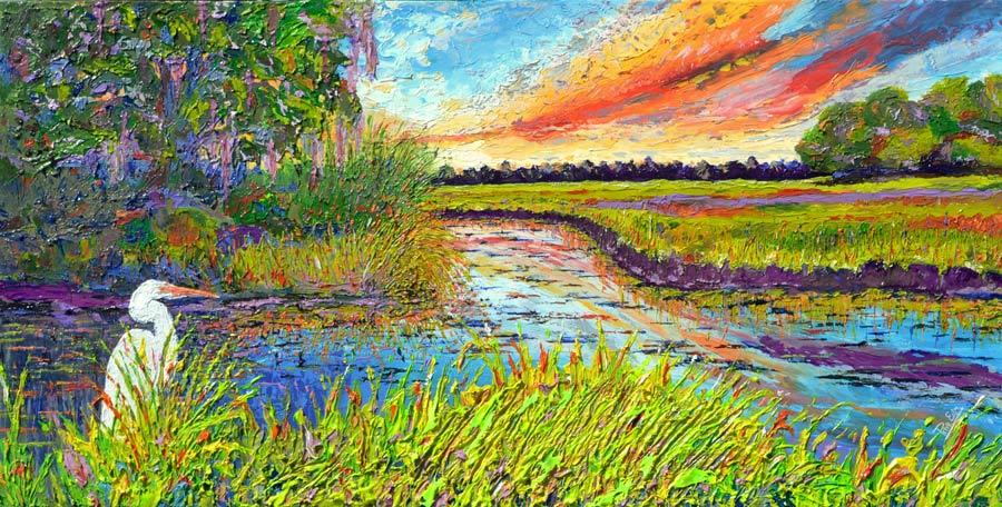 Vibrant Marsh 24x48 Acrylic in Gel Medium  ***Custom Sizes available