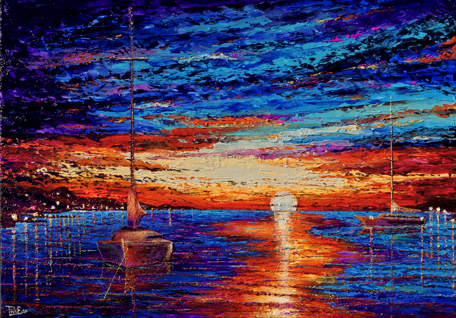 Blue Harbor 32x48 Acrylic on Canvas -SOLD   ***Custom Sizes available