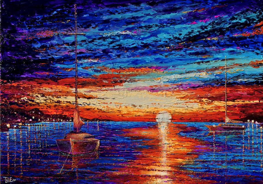 Blue Harbor 32x48 Acrylic on Canvas -SOLD   ***Custom Sizes available