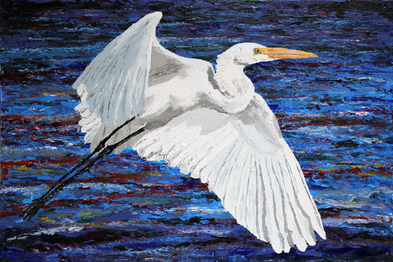 Charleston Egret 24x36 SOLD  Acrylic in Gel Medium  ***Custom Sizes available