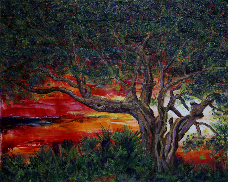 Smythe Park Oak 16x20  Acrylic in Gel Medium ***Custom Sizes Available