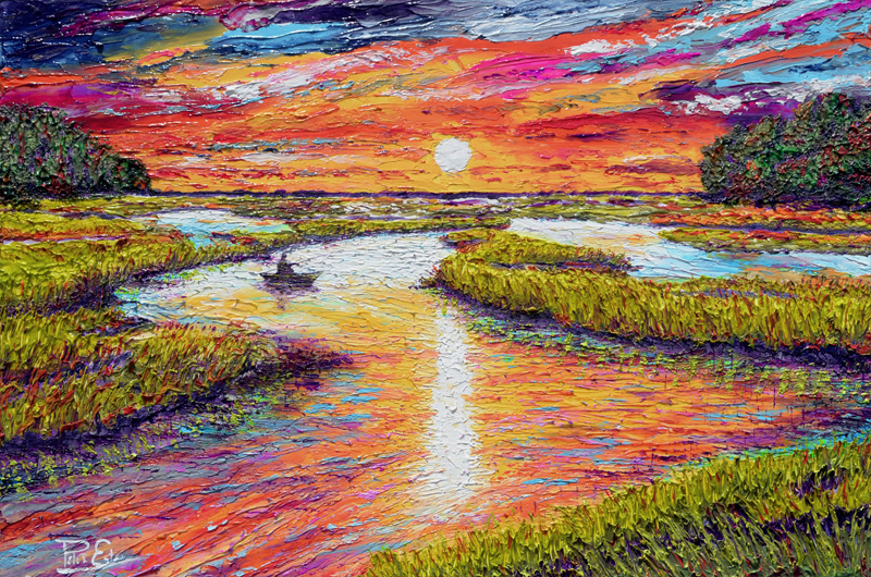 Sunset Tides 24x36 Acrylic in Gel Medium  ***Custom Sizes available