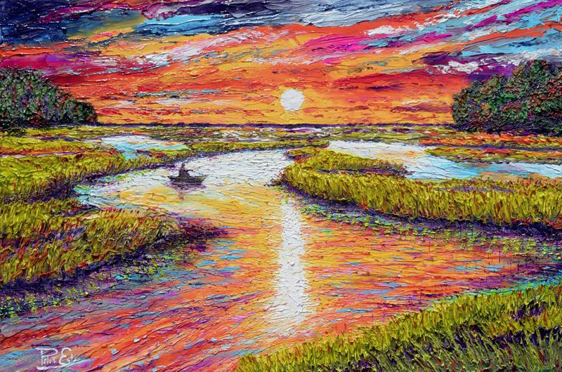 Sunset Tides 24x36 Acrylic in Gel Medium  ***Custom Sizes available