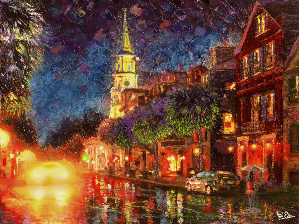 Lights on Broad Street - 36x48 Acrylic in Gel Medium***Custom Sizes available