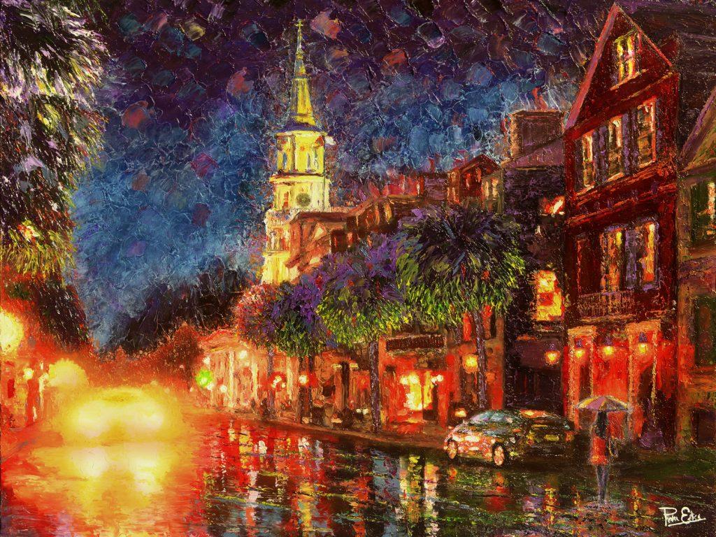 Lights on Broad Street - 36x48 Acrylic in Gel Medium***Custom Sizes available