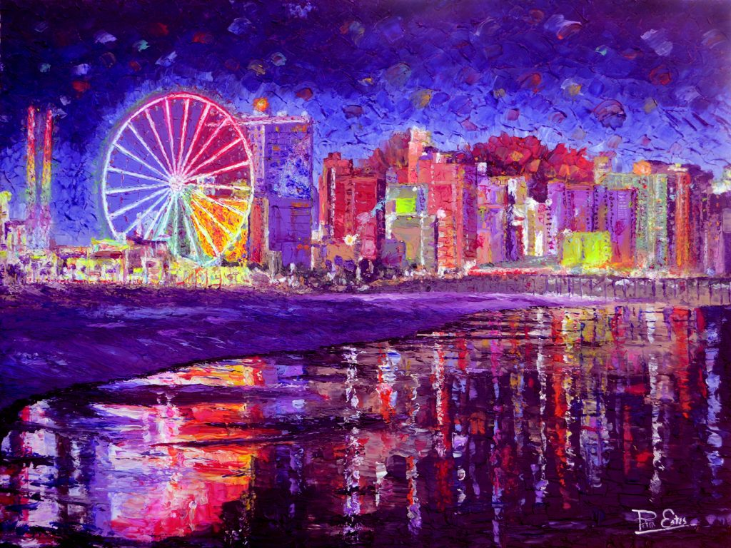 Myrtle Shore by Night – 36×48 Acrylic in Gel Medium SOLD ***Custom Sizes available