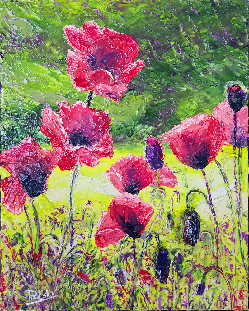 Poppies in Sunlight 20x16 Acrylic in Gel Medium  ***Custom Sizes Available